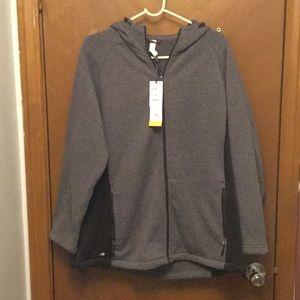 Gray and black zip up hidden jacket